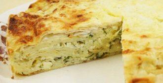 Ленивый пирог из лаваша с сыром