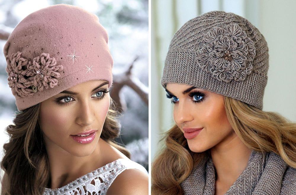 Вязаные шапки для женщин после 40