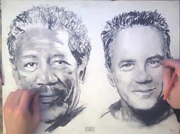 Художники, которые рисуют обеими руками одновременно разные портреты