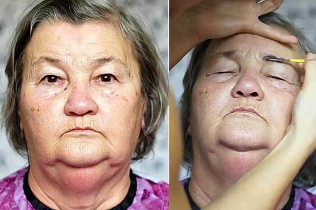 Внучка сделала макияж своей 70-летней бабушке. Посмотрите, как бабушка помолодела!